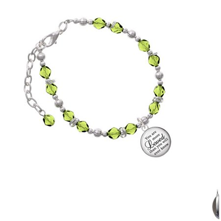 Silvertone Domed You are more Loved Lime Green Beaded - Lime Green Womens Bracelets