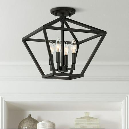 "Franklin Iron Works Ithaca 13"" Wide Bronze Open Frame 4-Light Ceiling Light"