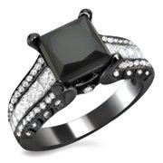 Noori Collection Noori 18k Black Gold 3 2/5ct TDW Princess-cut Black and Round-cut White Diamond Ring