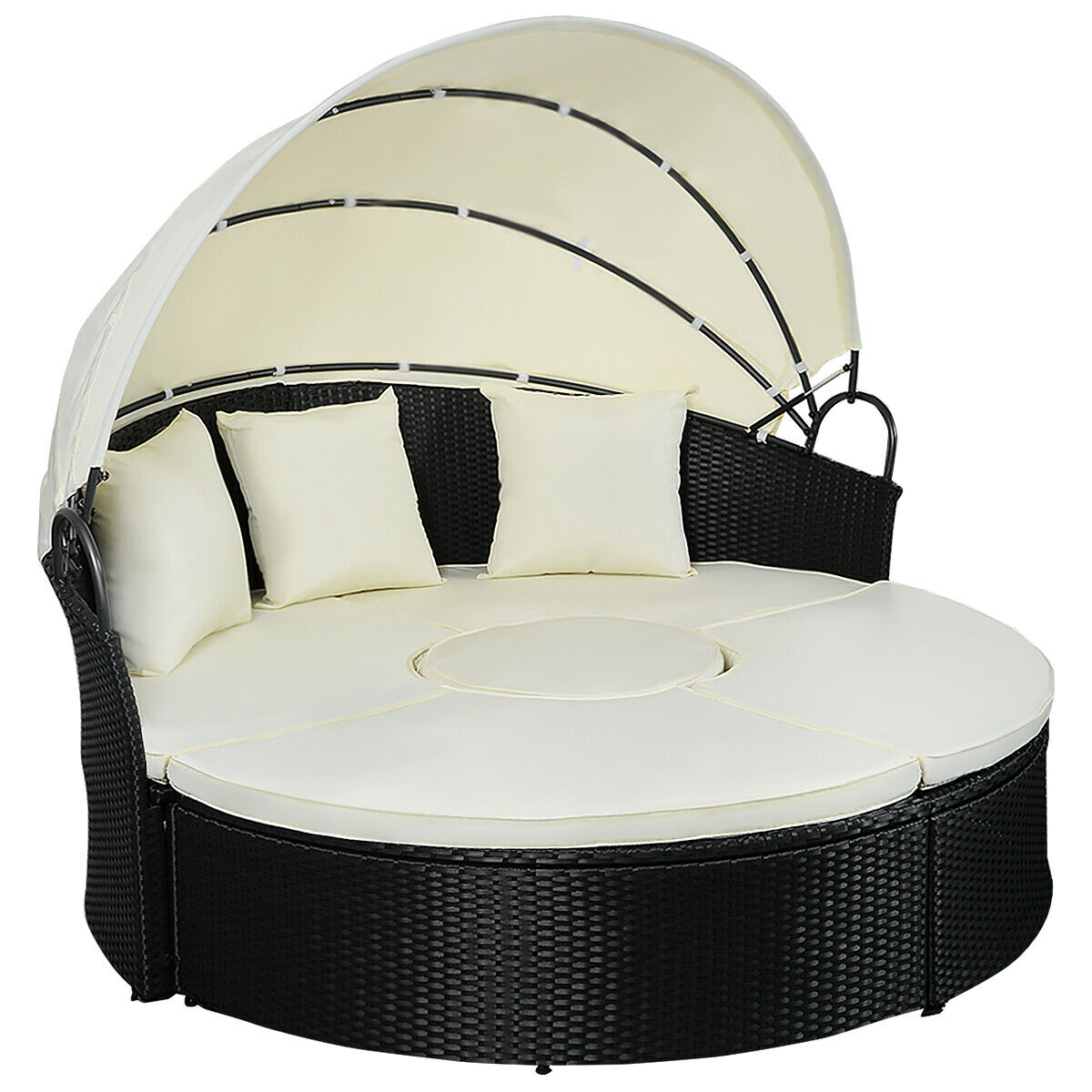 Gymax Rattan Wicker Round Retractable Canopy Daybed Sofa Furniture Set Outdoor Patio - image 9 of 9