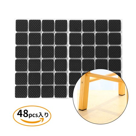 HURRISE 48Pcs Black Non-slip Self Adhesive Floor Protectors Furniture Sofa Table Chair Rubber Feet Pads, Floor protector rubber pads, Table rubber pads ()