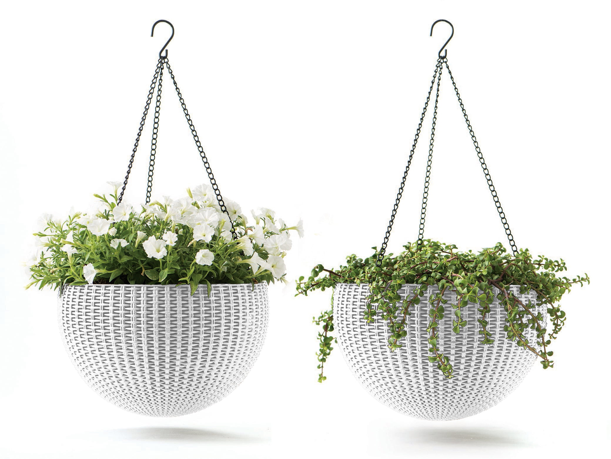 "Keter Round Resin Hanging Planters, 2pk, All-Weather Plastic Planters, 13.8""... by Keter"