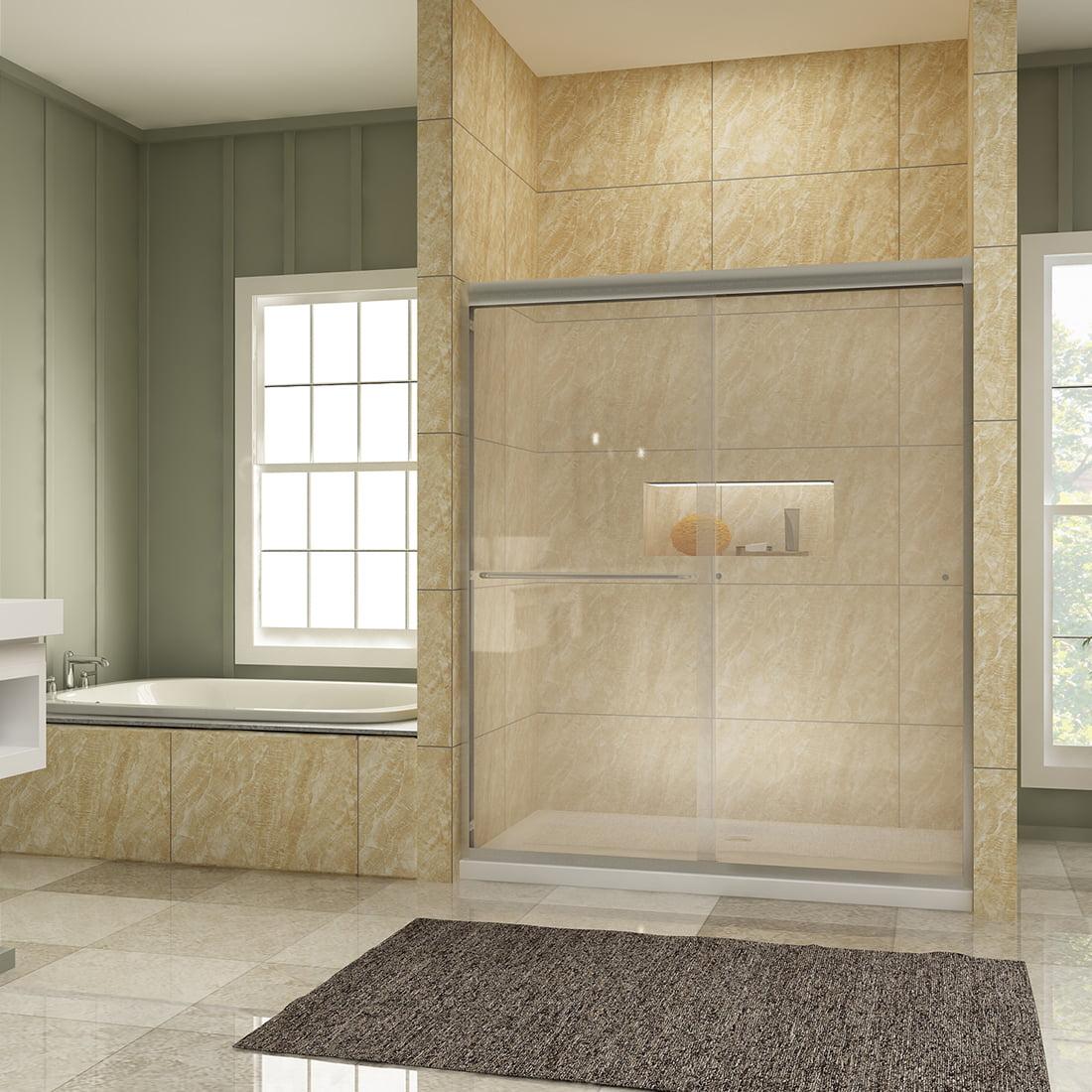 Sunny Shower 60 X 72 Semi Frameless 2 Sliding Shower Doors 5 16 Clear Glass Brushed Nickel Finish B0322p