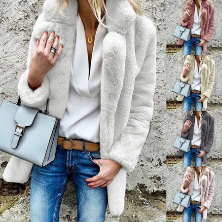 Womens Lapel Faux Fur Solid Fleece Warm Winter Casual Open Front Loose Tops Fashion Coat Outwear Overcoat Ladies](White Fur Coat Costume)