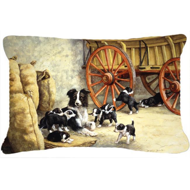 Carolines Treasures BDBA0118PW1216 Border Collie Dog Litter Fabric Decorative Pillow - image 1 of 1