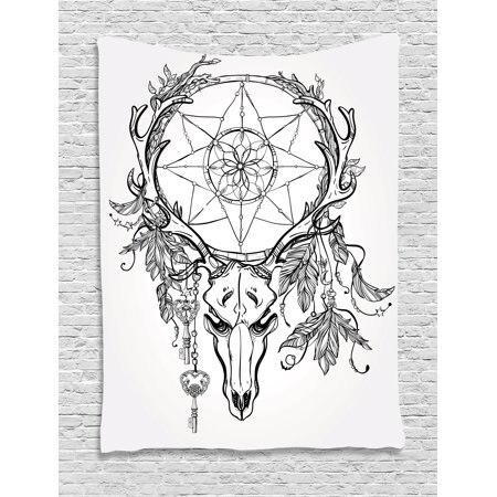 faebf8a17 Tattoo Tapestry, Deer Skull with Feathers on its Antlers as an Accessory  Holding a Star Art, Wall Hanging for Bedroom Living Room Dorm Decor, ...