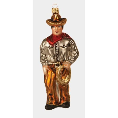 Western Cowboy with Lasso Polish Glass Christmas Tree Ornament Decoration](Western Christmas)