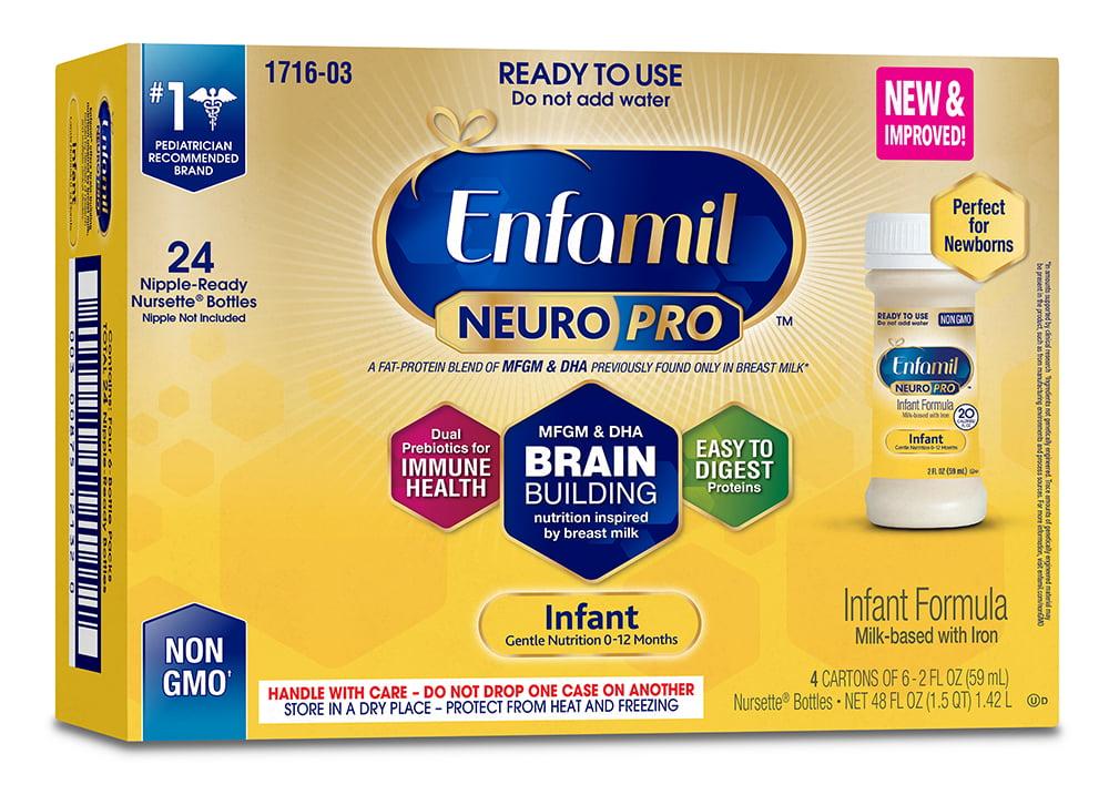 Enfamil Infant NeuroPro Baby Formula, 2 fl oz Ready to Use Liquid (24 Bottles) by Enfamil