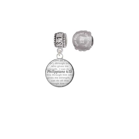 Silvertone Domed Philippians 4:13 13.1 Half Marathon Run She Believed She Could Charm Beads (Set of