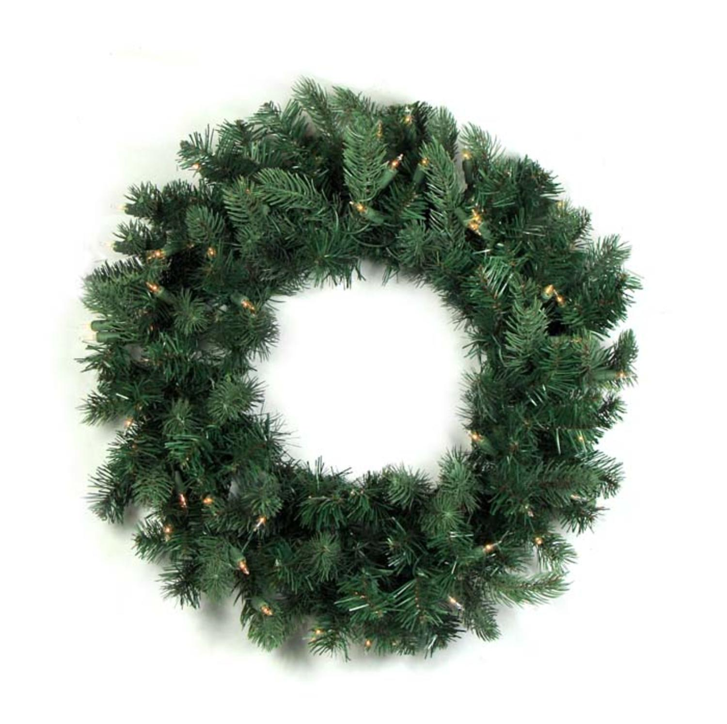 "24"" Pre-lit Natural Frasier Fir Artificial Christmas Wreath - Clear Lights"