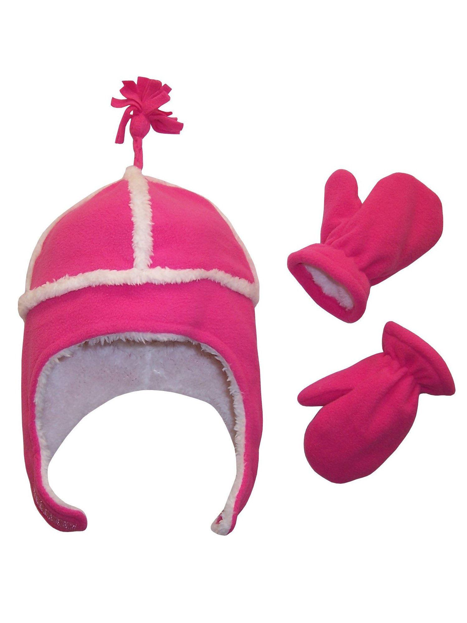 NICE CAPS Little Kids and Toddler Unisex Warm Sherpa Lined Micro Fleece Hat And Mitten Cold Weather Winter Snow Headwear Accessory Set - Fits Boys and Girls Children Sizes