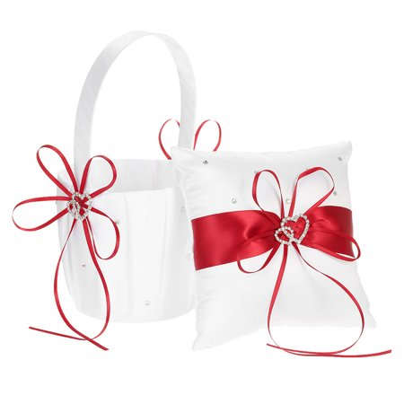 6 * 6 inches Double Heart Satin Ring Bearer Pillow and Wedding Flower Girl Basket Set with Rhinestone Ribbon Decoration