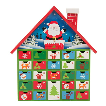 "House Advent Calendar - Glitzhome Countdown to Christmas Wooden House Advent Calendar, 13.58""H"