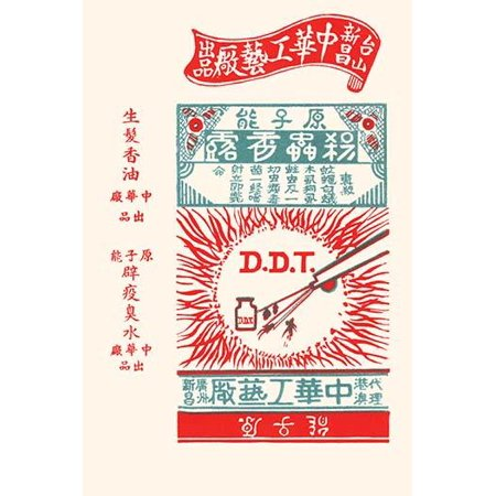A factory trade flyer from China promoting its two main products an insecticide called DDT and a medicine to grow hair on bald heads Poster Print by