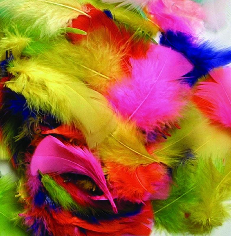 Creativity Street Non-Toxic Plumage Feather, 3 in, Multiple Bright Color, 1/2 oz Bag
