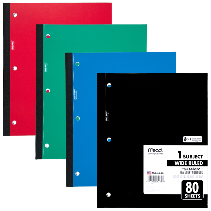 "Mead Wireless One-Subject Notebook, Rld, 8""x10-1/2"", 80Shts, Ast 05222"