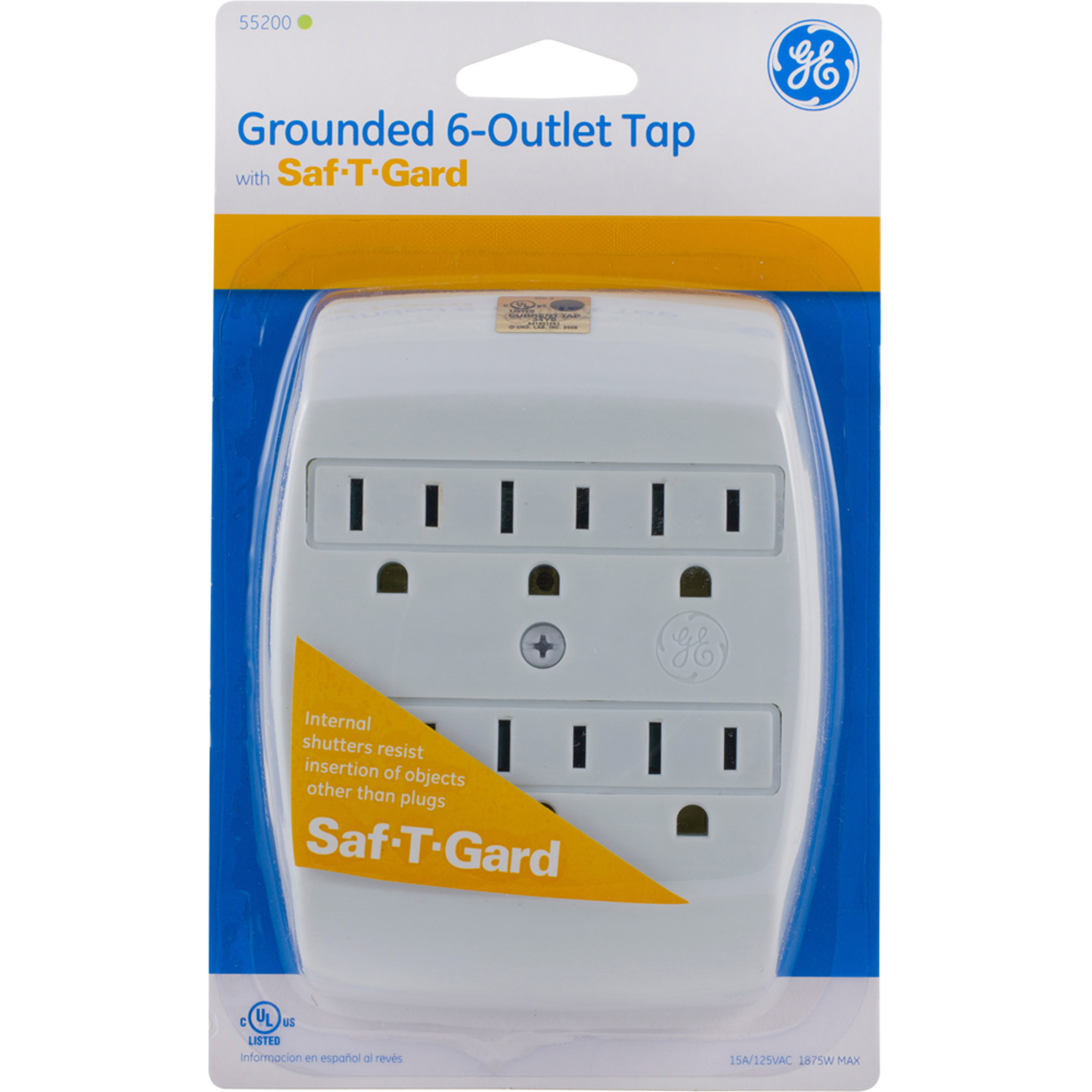 6 Outlet Grounded Tap with Saf T Gard in Wall, 15A/125VAC, White