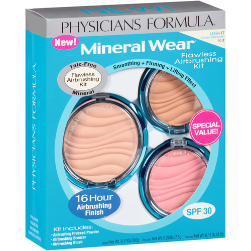 Physicians Formula Mineral Wear Flawless Airbrushing Kit, Light, 3 pc