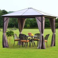 Erommy 10'x10' Outdoor Hardtop Polycarbonate Gazebo Canopy Curtains Aluminum Frame with Netting for Garden,Patio