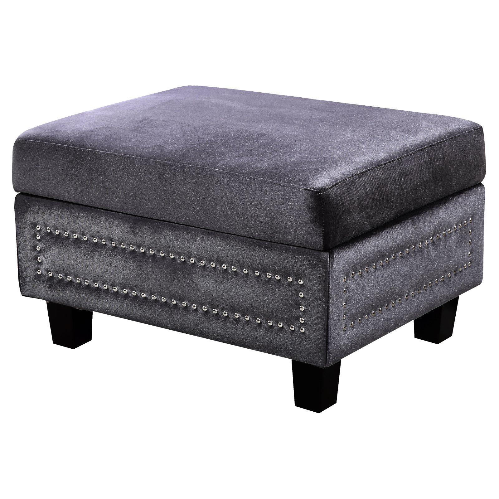 Meridian Furniture Inc Ferrara Nailhead Storage Ottoman