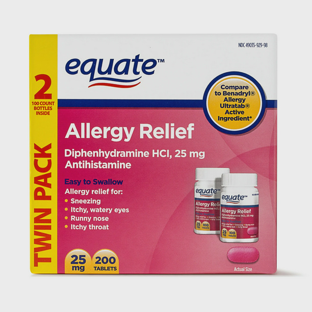 Equate Allergy Relief Diphenhydramine Tablets 25mg, 2x100 Ct