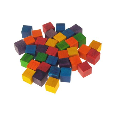 Wooden Cube Blocks, Multi-Color, 1/2-Inch, 36-Count
