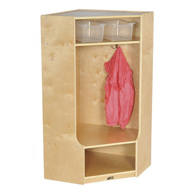Early Childhood Resources ELR-17233 Corner Section Birch Coat Locker with Bench by Early Childhood Resource