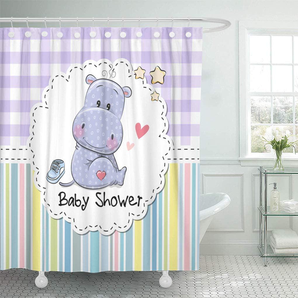 Cynlon Blue Announcement Baby Cute Cartoon Hippo Beauty Birth Boy Bathroom Decor Bath Shower Curtain 60x72 Inch Walmart Com Walmart Com
