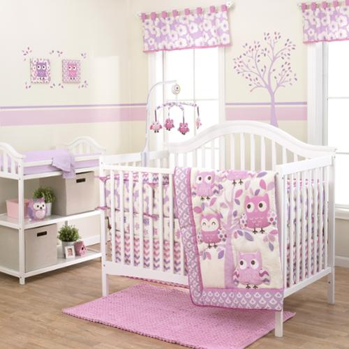 Belle  Dancing Owl 3-piece Girl Crib Bedding Set