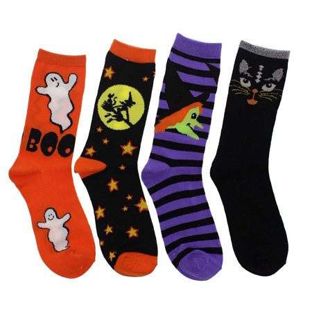 K. Bell Women's Halloween Theme Crew Socks (4 pr.) Witches, Black Cat, Ghosts - Halloween Socks