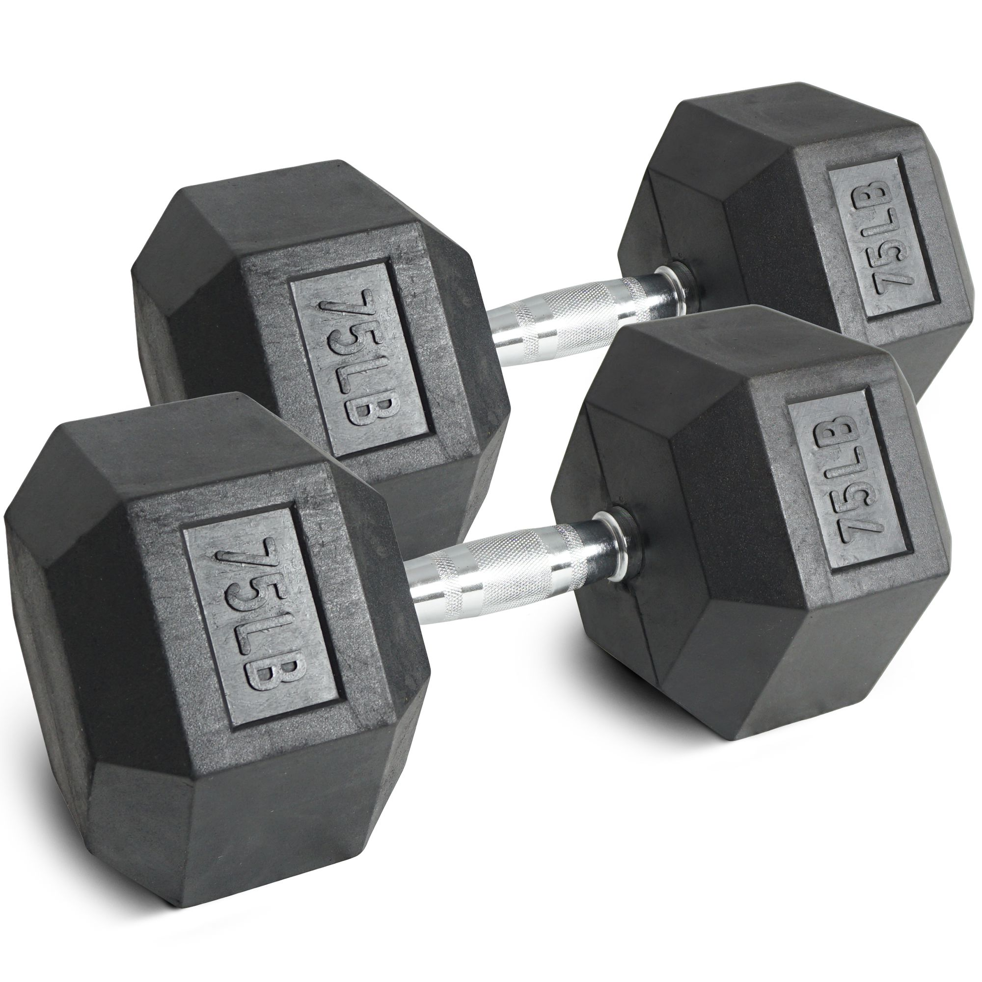 Pair 75 lb Black Rubber Coated Hex Dumbbells Weight Training Set 150 lb Fitness by Titan Fitness