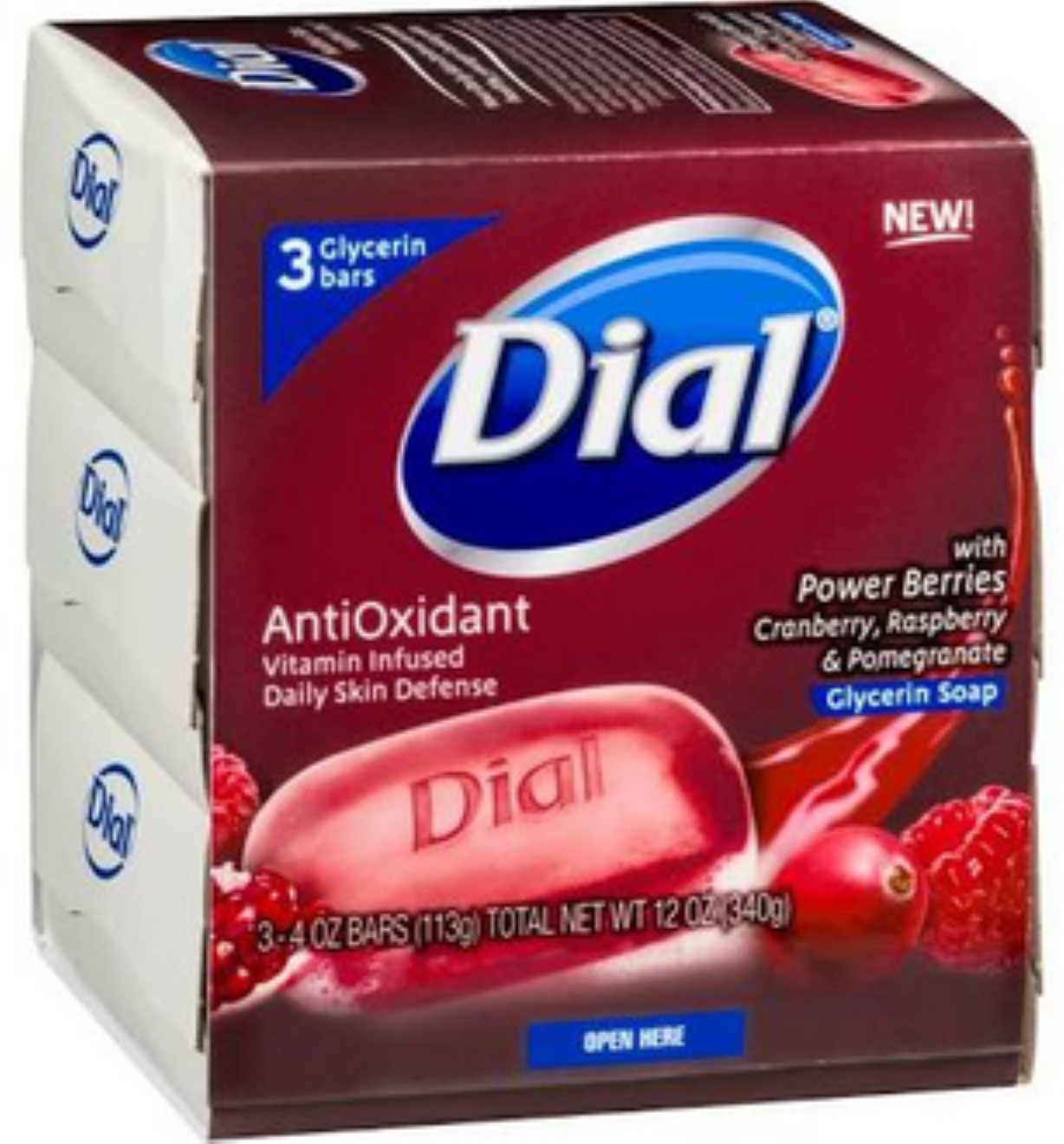 Dial Glycerin Bar Soap with Power Berries, Cranberry, 4 oz bars, 3 ea (Pack of 2)