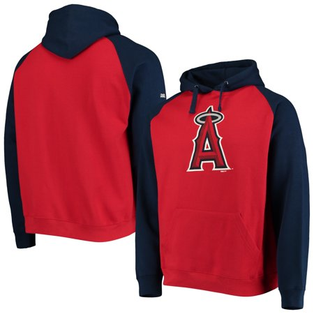 Los Angeles Angels Stitches Color Block Raglan Pullover Hoodie - Red/Navy