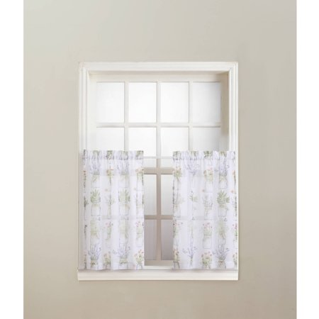 No. 918 Eve's Garden Rod Pocket Kitchen Curtain Tier Pair Tiered Kitchen Curtain
