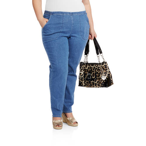 Just My Size Women's Plus-Size Pull-On Stretch Woven Pants ...