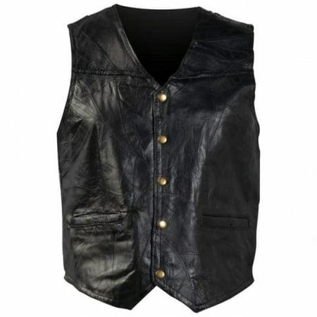 Giovanni Navarre® Italian Stone™ Design Genuine Leather Vest - Medium - (Medium Genuine Italian Leather)