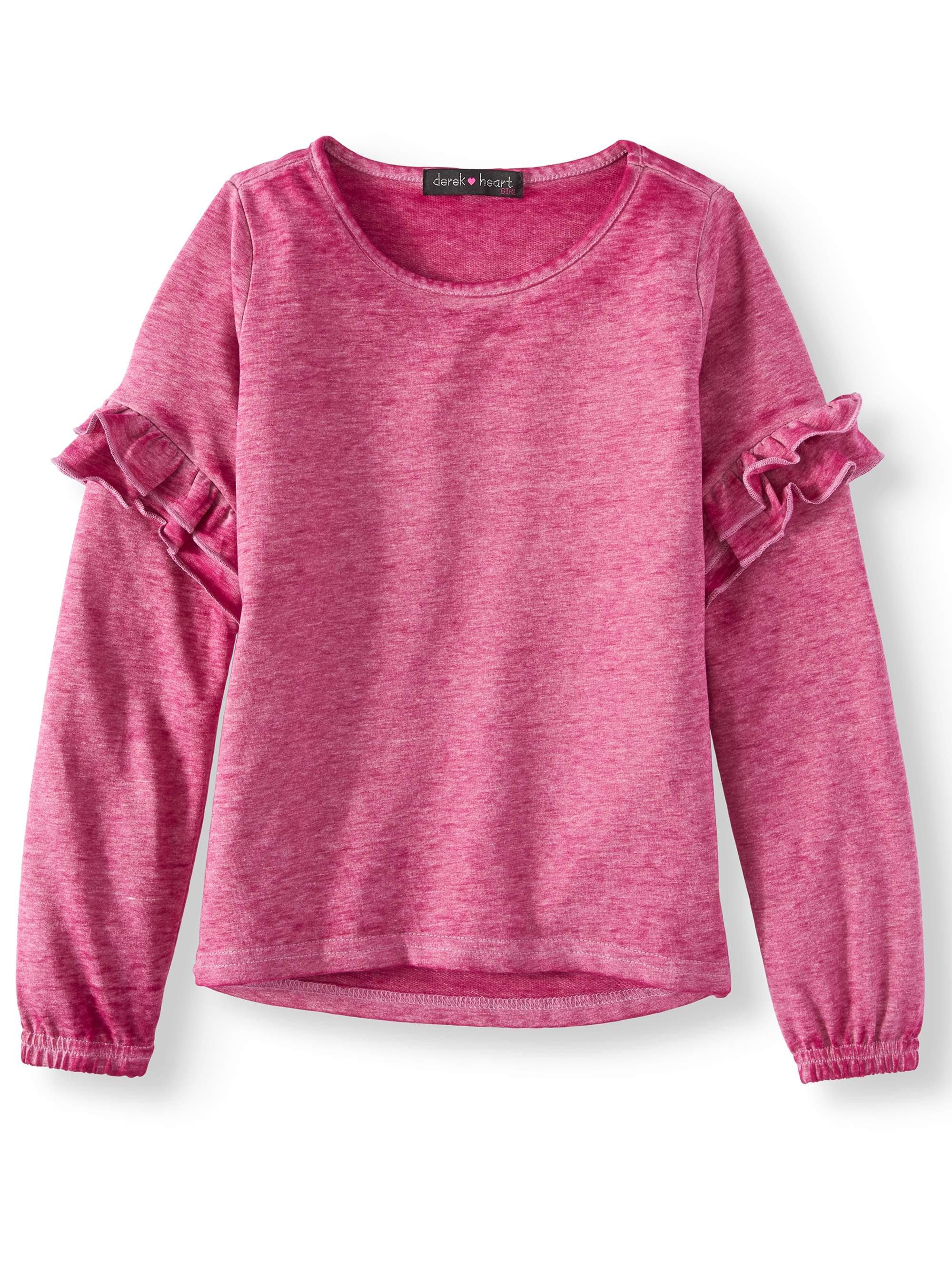 Burnout French Terry Ruffle Sleeve Top (Big Girls)