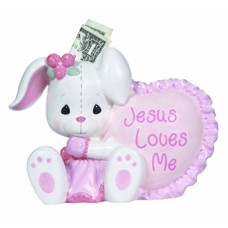 Jesus Loves Me  Ceramic Bank  Girl  132407  An Adorable White Bunny Dressed In Pretty Pink Shares A Loving Message For The Little Saver By Precious Moments
