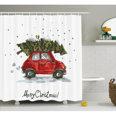 Christmas Shower Curtain.Christmas Shower Curtain Red Retro Style Car Xmas Tree Vintage Family Style Illustration Snowy Winter Art Fabric Bathroom Set With Hooks Red Green