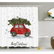 christmas shower curtain red retro style car xmas tree vintage family style illustration snowy winter - Christmas Shower Curtain Set