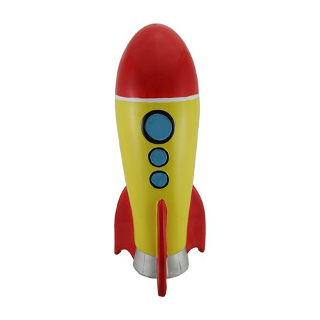 Jumbo red and yellow rocket ship coin bank - Rocket ship piggy bank ...
