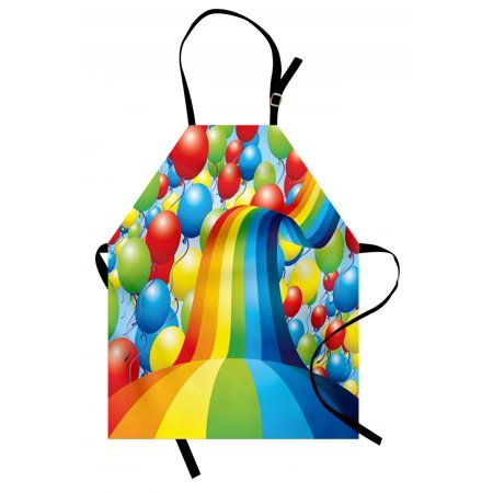 Birthday Apron Many Vibrant Balloons Wavy Rainbow Ribbons Festive Celebration Mood Special Event, Unisex Kitchen Bib Apron with Adjustable Neck for Cooking Baking Gardening, Multicolor, by Ambesonne