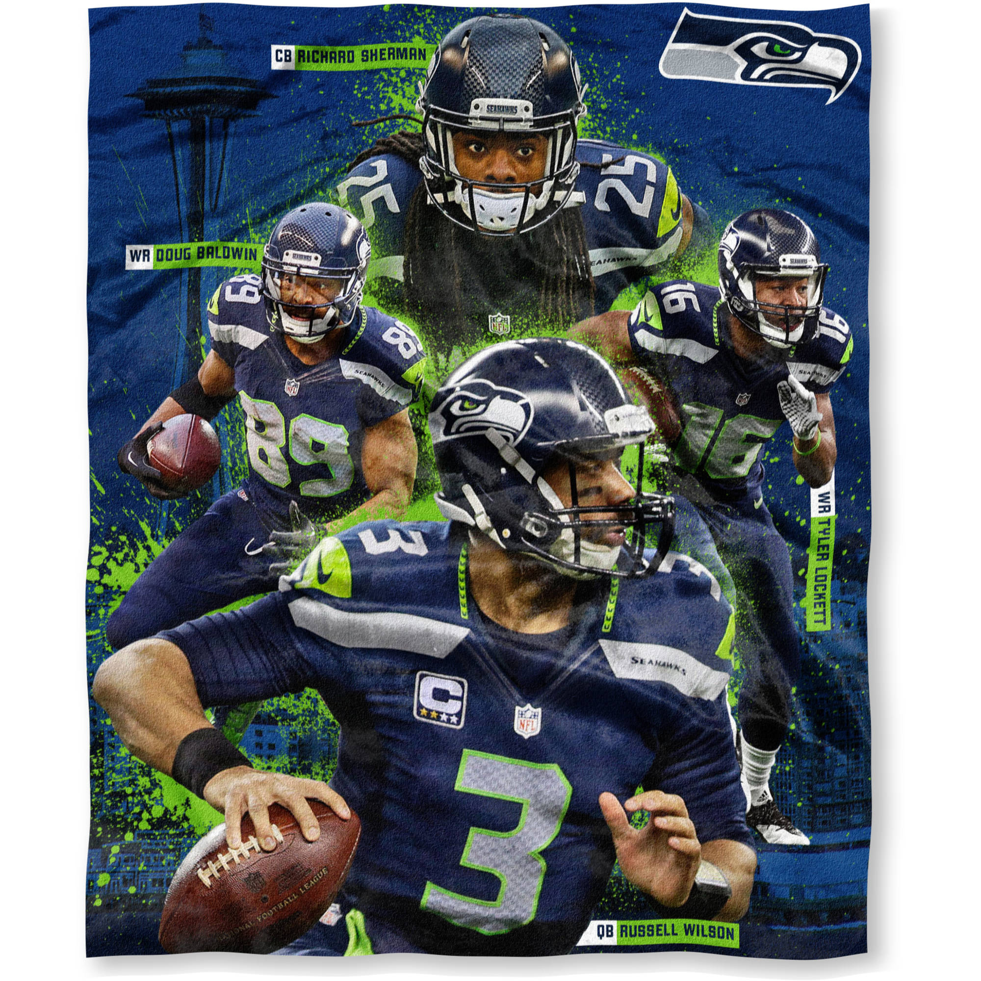 "NFL Players Association 50"" x 60"" Seattle Seahawks Players High Definition Silk Touch Throw, Richard Sherman, Doug Baldwin, Tyler Lockett and Russell Wilson"
