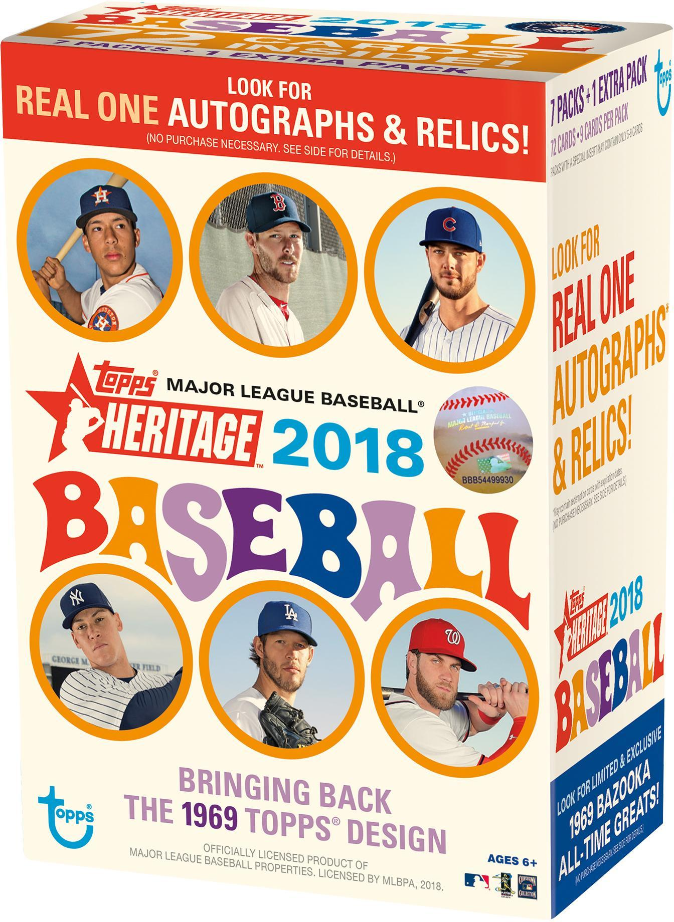 2018 Topps Heritage Baseball Retail Mass Value Box Factory Sealed 8 Pack Box by Topps