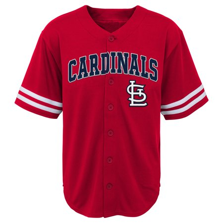 MLB St Louis CARDINALS TEE Short Sleeve Boys Fashion Jersey Tee 60% Cotton 40% Polyester BLACK Team Tee (St Louis Cardinals Busch Stadium)
