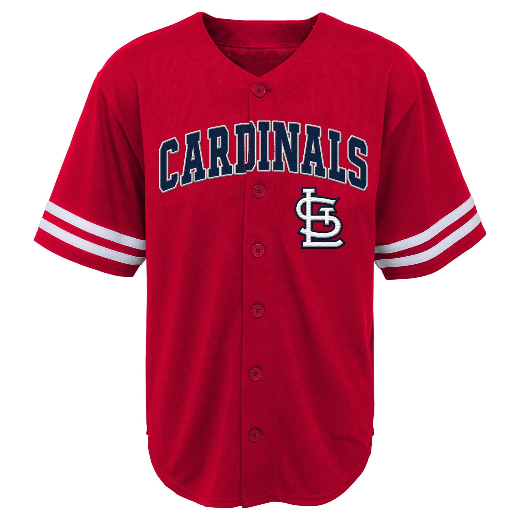 MLB St Louis CARDINALS TEE Short Sleeve Boys Fashion Jersey Tee 60% Cotton 40% Polyester BLACK Team Tee 4-18