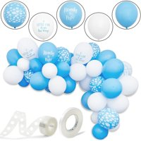 "50-Pack Cloud Party Latex Balloons for Boy Baby Shower, Gender Reveal Party Supplies and Decorations, 12"" Blue and White, Ribbon Included"