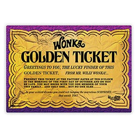Willy Wonka Golden Ticken Tin Sign Gene Wilder Charlie Chocolate Factory (Johnny Depp Willy Wonka Costume)