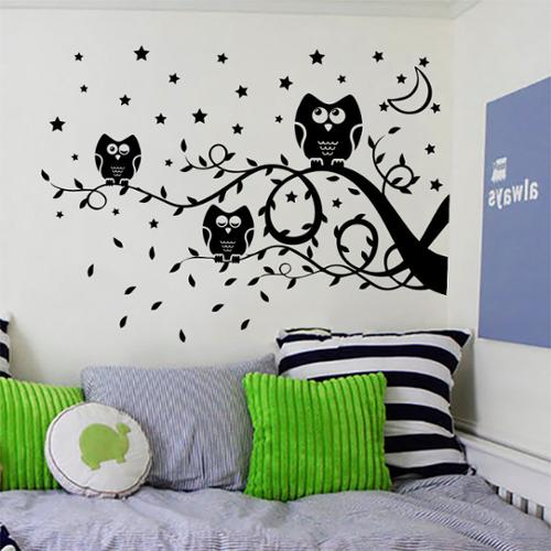 Stickalz llc Owls on a Branch Wall Art Sticker Decal