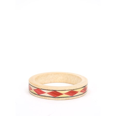 Women's Wooden Bangle Bracelet with Triangular Tribal Pattern - Wooden Bangles